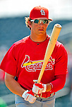 1 March 2009: St. Louis Cardinals' center fielder Colby Rasmus prepares to take batting practice prior to a Spring Training game against the Florida Marlins at Roger Dean Stadium in Jupiter, Florida. The Cardinals outhit the Marlins 20-13 resulting in a 14-10 win for the Cards. Mandatory Photo Credit: Ed Wolfstein Photo