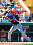 5 March 2009: Washington Nationals' infielder Joel Guzman in action during a Spring Training game against the Detroit Tigers at Joker Marchant Stadium in Lakeland, Florida. The Tigers defeated the visiting Nationals 10-2 in the Grapefruit League matchup. Mandatory Photo Credit: Ed Wolfstein Photo