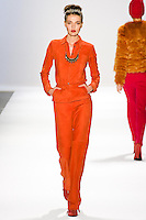 Alina Baikova walks the runway in a Luca Luca Fall 2011 outfit, designed by Raul Melgoza, during Mercedez-Benz Fashion Week, February 10, 2011