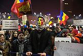 Massenproteste in Bukarest / Rumänien im Januar / Februar 2017. Anlässlich der geplanten Änderungen der Anti-Korruptionsgesetze gehen Zehntausende auf die Straße. Die größten Demonstrationen seit 26 Jahren.