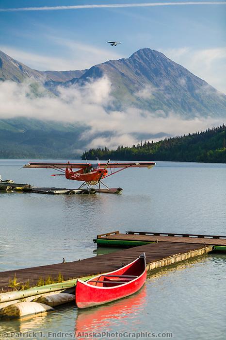 Float plane on Bear Lake, Moose Pass, Kenai Peninsula, Alaska