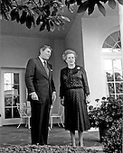Washington, DC - (FILE) -- United States President Ronald Reagan and Prime Minister Margaret Thatcher of Great Britain pose for photographers in the Rose Garden outside the Oval Office of the White House prior to their meeting in Washington, D.C. on Wednesday, June 23, 1982..Credit: Howard L. Sachs / CNP