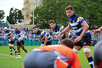 Bath Rugby players look on in defence. Aviva Premiership match, between Bath Rugby and Newcastle Falcons on September 10, 2016 at the Recreation Ground in Bath, England. Photo by: Patrick Khachfe / Onside Images