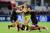 Matthew Tait of Leicester Tigers is double-tackled. Aviva Premiership match, between Saracens and Leicester Tigers on October 29, 2016 at Allianz Park in London, England. Photo by: Patrick Khachfe / JMP