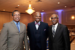 Waterbury, CT- 20 April 2017-042017CM11-  From left, State Rep Larry Butler, (D-72), Dr. James Gatling CEO at New Opportunities Inc. and Waterbury Alderman Greg Hadley are photographed during The Rivera Memorial Foundation 17th annual scholarship awards banquet on Thursday, April 20th at La Bella Vista in Waterbury.   Christopher Massa Republican-American