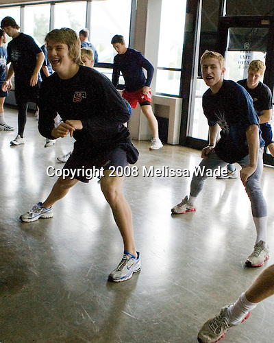 (Tangradi, Hoeffel, McDonagh) James vanRiemsdyk (US White - 21), Vinny Saponari (US White - 20), Jake Gardiner (US White 7) - Members of US Team White warmup on the concourse of the 1980 Rink prior to their game against the Swedes on Friday, August 8, 2008, during the 2008 US National Junior Evaluation Camp and Summer Hockey Challenge in Lake Placid, New York.