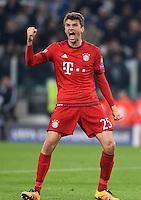 FUSSBALL CHAMPIONS LEAGUE  SAISON 2015/2016  ACHTELFINALE HINSPIEL Juventus Turin - FC Bayern Muenchen             23.02.2016 Torjubel nach dem 0:1: Thomas Mueller (FC Bayern Muenchen)