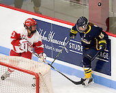 Kasey Boucher (BU - 3), Jenny MacKnight (Windsor - 15) - The Boston University Terriers defeated the visiting University of Windsor Lancers 4-1 in a Saturday afternoon, September 25, 2010, exhibition game at Walter Brown Arena in Boston, MA.