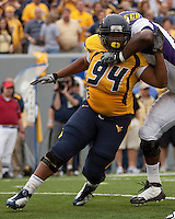 WVU defensive lineman Josh Taylor. The WVU Mountaineers defeated the East Carolina Pirates 35-20 at Mountaineer Field at Milan Puskar Stadium, Morgantown, West Virginia on September 12, 2009.