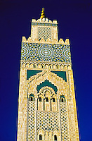 The 200 meter high minaret of the Grande Mosquee d'Hassan II, Casablanca, Morocco