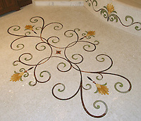 Luxor bath floor in Sunshine, Joanna, Rosa Verona, Red Lake, Aegean Brown, Kay's Green, Verde Luna, Chartreuse, Heavenly Cream