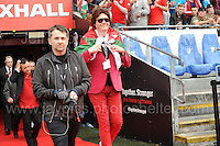 The Manic Street Preachers James (behind) Nicky(R) and Sean(L) enter the stadium to perform during the homecoming celebrations at the Cardiff City stadium on Friday 8th July 2016 for the Euro 2016 Wales International football squad.<br /> <br /> <br /> Jeff Thomas Photography -  www.jaypics.photoshelter.com - <br /> e-mail swansea1001@hotmail.co.uk -<br /> Mob: 07837 386244 -