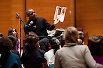 "02/03/2012- Somerville, Mass. - Actor LeVar Burton reads ""Enemy Pie"" to students from the Eliot-Pearson school after receiving the Eliot-Pearson Award for Excellence in Children's Media at Distler Auditorium on Feb. 3, 2012. (Kelvin Ma/Tufts University)"