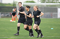 Piscataway, NJ - Saturday May 20, 2017: Tom Felice, Christina Unkel, Maggie Short prior to a regular season National Women's Soccer League (NWSL) match between Sky Blue FC and the Houston Dash at Yurcak Field.  Sky Blue defeated Houston, 2-1.