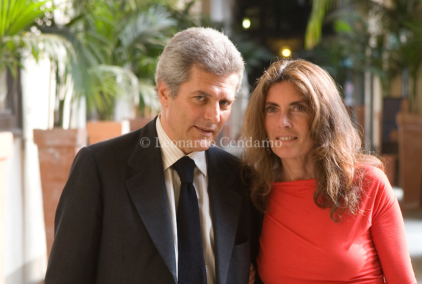 Turin, Italy, 2007. Alain Elkann, Italian journalist and writer, with his wife Rosy at the Turin Egyptian Museum.