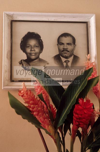 Europe/France/DOM/Antilles/Petites Antilles/Guadeloupe/Pointe-à-Pitre : Détail de la décoration chez Monique Vulgaire