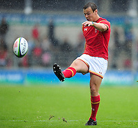 Jarrod Evans of Wales U20 kicks for the corner. World Rugby U20 Championship match between Wales U20 and Georgia U20 on June 11, 2016 at the Manchester City Academy Stadium in Manchester, England. Photo by: Patrick Khachfe / Onside Images