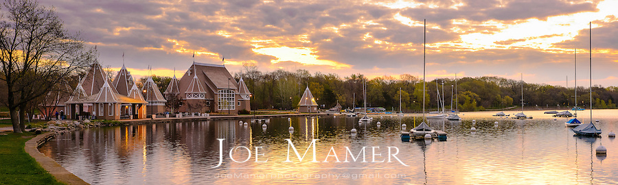 Sunrise over sailboats and band shell at Lake Harriet.