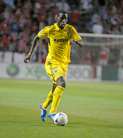 Columbus midfielder Tony Tchani (6) dribbles down the field.  The Chicago Fire defeated the Columbus Crew 2-1 at Toyota Park in Bridgeview, IL on June 23, 2012.