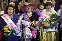 Moscow, Russia, 02/11/2011..Competitors at the first Moscow Super-Babushka contest. A total of 105 women aged over 50 entered to compete for various titles, including most stylish, modern, elegant, business-minded, creative, artistic, and cheerful granny. The overall winning title of Super-Babushka was taken by 73 year old Ludmilla Trafinovna in the event organised by the Moscow City Government Social Welfare Department.