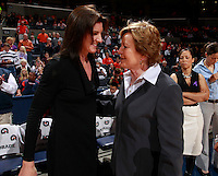 CHARLOTTESVILLE, VA- NOVEMBER 20: Head coach Joanne Boyle. left,  of the Virginia Cavaliers greets head coach Pat Summitt, right, of the Tennessee Lady Volunteers during the game on November 20, 2011 at the John Paul Jones Arena in Charlottesville, Virginia. Virginia defeated Tennessee in overtime 69-64. (Photo by Andrew Shurtleff/Getty Images) *** Local Caption *** Joanne Boyle;Pat Summitt