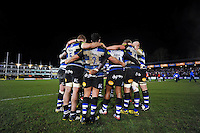 The Bath Rugby team huddle together at half-time. Aviva Premiership match, between Bath Rugby and Gloucester Rugby on February 5, 2016 at the Recreation Ground in Bath, England. Photo by: Patrick Khachfe / Onside Images