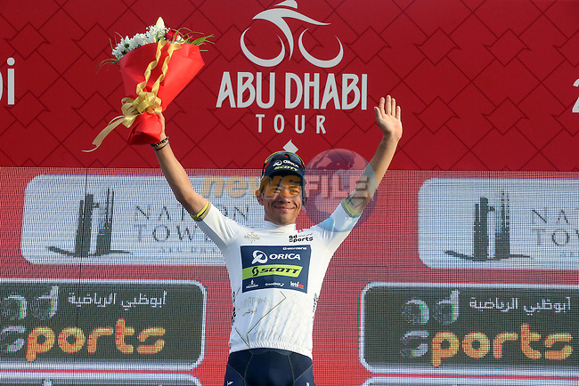 Caleb Ewan (AUS) Orica Scott wears the young riders White Jersey at the end of Stage 2 the Nation Towers Stage of the 2017 Abu Dhabi Tour, running 153km around the city of Abu Dhabi, Abu Dhabi. 24th February 2017<br /> Picture: ANSA/Matteo Bazzi | Newsfile<br /> <br /> <br /> All photos usage must carry mandatory copyright credit (&copy; Newsfile | ANSA)