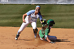 24 April 2016: Notre Dame's Morgan Reed (20) beats the tag by North Carolina's Kristen Brown (12), successfully stealing second base. The University of North Carolina Tar Heels hosted the University of Notre Dame Fighting Irish at Anderson Stadium in Chapel Hill, North Carolina in a 2016 NCAA Division I softball game. UNC won game 1 of the doubleheader 7-4.