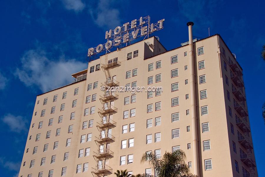 Hollywood Roosevelt Hotel, historic Spanish-style hotel, Hollywood Boulevard in Hollywood, Los Angeles, California
