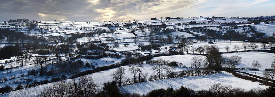 Snow-covered fields near Elton, Peak District National Park, Derbyshire, February.