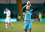Celtic v St Johnstone...23.01.16   SPFL  Celtic Park, Glasgow<br /> Alan Mannus applauds the travelling fans at full time<br /> Picture by Graeme Hart.<br /> Copyright Perthshire Picture Agency<br /> Tel: 01738 623350  Mobile: 07990 594431