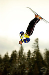 """16 January 2005 - Lake Placid, New York, USA - Jeret Peterson representing the United States, competes in the FIS World Cup Aerial acrobatic competition, taking the Gold Medal in the Nature Valley Freestyle Cup at the MacKenzie-Intervale Ski Jumping Complex, in Lake Placid, NY. Jeret """"Speedy"""" Peterson retained his top position standing in the World Cup aerials by winning the days' 2-jump competition with 250.53 points...Mandatory Credit: Ed Wolfstein Photo."""