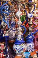Hookah Turkish tobacco smoking water pipes, nargile, in The Grand Bazaar market, Kapalicarsi, in Beyazi, Istanbul, Turkey