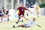 11 November 2007: Florida State's Erika Sutton (6) leaps over the tackle attempt from North Carolina's Tobin Heath (98). The University of North Carolina defeated Florida State University 1-0 at the Disney Wide World of Sports complex in Orlando, FL in the Atlantic Coast Conference Women's Soccer tournament final.