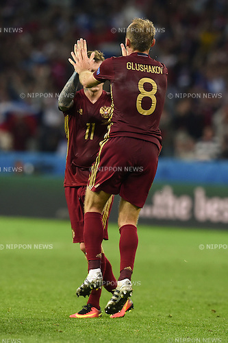 Denis Glushakov (Russia) Pavel Mamaev (Russia) ; <br /> June 15, 2016 - Football : Uefa Euro France 2016, Group B, Russia 1-2 Slovakia at Stade Pierre Mauroy, Lille Metropole, France.; Joy Goal 1-2 ;(Photo by aicfoto/AFLO)