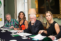 02/04/2015<br /> (L to R ) Louis Walsh Entertainment Manager &amp; X factor judge,<br /> Amanda Byram host of Pride of Ireland Awards, <br /> Prof paddy Broe Clinical Director &amp; Past President Royal College of Surgeons in Ireland, <br /> Vogue Williams Model, DJ &amp; Presenter<br /> during the Pride of Ireland judging day in the Mansion House, Dublin.<br /> Photo:  Gareth Chaney Collins