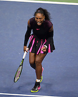 FLUSHING NY- SEPTEMBER 08: Serena Williams Vs Karolina Pliskova on Arthur Ashe Stadium at the USTA Billie Jean King National Tennis Center on September 8, 2016 in Flushing Queens. Credit: mpi04/MediaPunch