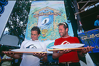 Quiksilver Pro, Grajagan, East Java. Indonesia <br /> The 1995 Quisksilver Pro  held in the waves of  Grajagan, better known as G-Land, on the coastline of a nature reserve on the southern-most tip of east Java was won by Kelly Slater (USA) with fellow Quiksilver surfer Jeff Booth (USA) in second place.  It was the first Quiksilver Pro, G-Land, that set the true concept of the ASP &lsquo;Dream Tour&rsquo; in motion. The late 80s and early 90s saw a growth in events based close to metropolitan areas, but the Quiksilver Pro, G-Land took a step away from that. Its emphasis was on quality waves, rather than quality crowds. Surfer Magazine calls Quiksilver's G-Land Java Pro &ldquo;The greatest ASP contest ever . . .&rdquo;. Surfing Magazine says, &ldquo;More than a contest, more than a surf trip, the Quiksilver Pro redefined professional surfing . . .&rdquo; Witness a select group of the worlds greatest surfers in some of the best contest waves ever ridden.&quot; Photo: joliphotos.com