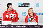 LONDON, ENGLAND 08/28/2012:  Marco Dispaltro and Diane Roy at the Team Canada Preview press conference before the London 2012 Paralympic Games at the Main Press Centre. (Photo by Matthew Murnaghan/Canadian Paralympic Committee)