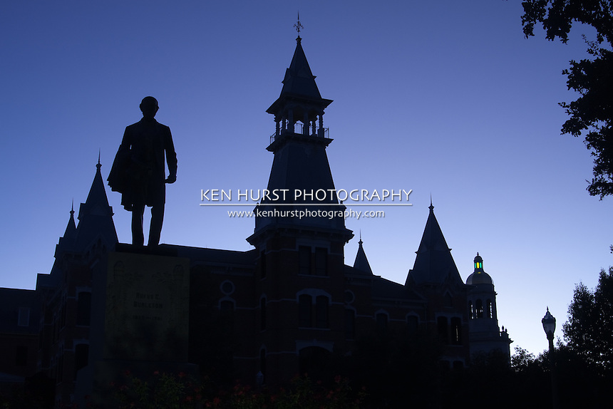 Silhouette Of Old Main, Burleson Statue, and Pat Neff Hall ...