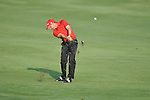 Golfer Sergo Garcia swings on the 10th hole at the PGA FedEx St. Jude Classic at TPC Southwind in Memphis, Tenn. on Thursday, June 9, 2011.