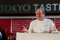 Chef Joel Robuchon gives a speech and demonstration at Tokyo Taste, The World Summit of Gastronomy 2009, 10 February 2009,Tokyo, Japan.Many of the world's top chefs are assembled for the sold-out 3 day event in the center of Tokyo.