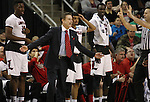 Louisville head coach Rick Pitino shakes his head when a foul is called on the Cardinals near the end of the game during their win against Northern Iowa State in the 2015 NCAA Division I Men's Basketball Championship's March 22, 2015 at the Key Arena in Seattle, Washington.  Louisville beat Northern Iowa State 66-53 to advance to the Sweet 16.   ©2015. Jim Bryant Photo. ALL RIGHTS RESERVED.