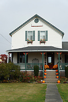 Farm house decorated with pumpkins, Ladner, British Columbia, Canada