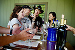 L-R: Jessica Richter and Jeffrey Seigel, of Los Gatos, taste wine with friends, Jeff Shardell and Sandy Kuo, of Los Altos, at the outside tasting bar at Rombauer Vineyards, in St. Helena, Ca., on Saturday, June 6, 2009.