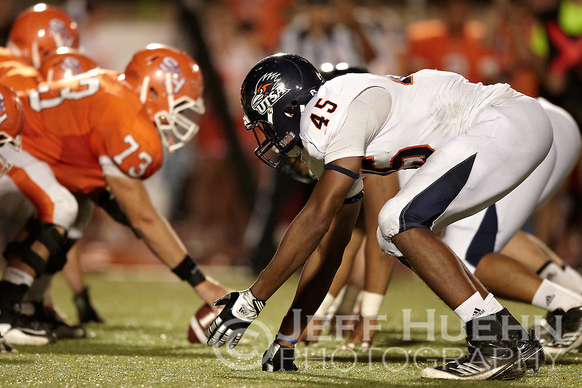 HUNTSVILLE, TX - OCTOBER 1, 2011: The University of Texas at San Antonio Roadrunners vs. the Sam Houston State University Bearkats Football at the Elliott T. Bowers Stadium. (Photo by Jeff Huehn)