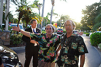 George Bush, Robin Williams and Chevy Chase impersonators arrive at the Hawaiian Breeze restaurant for supper during the Sunburst Convention of Professional Tribute Artists