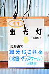 Container No. 11 is assigned for strip light bulbs, with information on a board above the container about how the used bulbs will be recycled in Hokkaido as glass wool and so on at the waste disposal site in central Kamikatsu Town in Shikoku, Japan. The town, whose residents number just over 2,000 people, has implemented a waste recycling policy that aims at eliminating waste entirely within the next 12 years and employs retired local residents to care for the waste disposal center. Waste must be divided up into 34 categories.