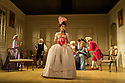 Bath, UK. 09.07.2012. THE SCHOOL FOR SCANDAL opens the Theatre Royal Bath's summer season of new in-house productions, overseen by leading guest director, Jamie Lloyd. Picture shows:  (front) Susannah Fielding (as Lady Teazle), Serena Evans (Lady Sneerwell), Timothy Speyer (servant), Grant Gillespie (Sir Benjamin Backbite), Zoe Rainey (Maria), Maggie Steed (Mrs Candour), Edward Bennett (Joseph Surface), David Killick (Crabtree). Photo credit: Jane Hobson
