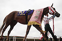 Reine Minoru,<br /> APRIL 9, 2017 - Horse Racing :<br /> Reine Minoru after winning the Oka Sho (Japanese 1000 Guineas) at Hanshin Racecourse in Hyogo, Japan. (Photo by Eiichi Yamane/AFLO)